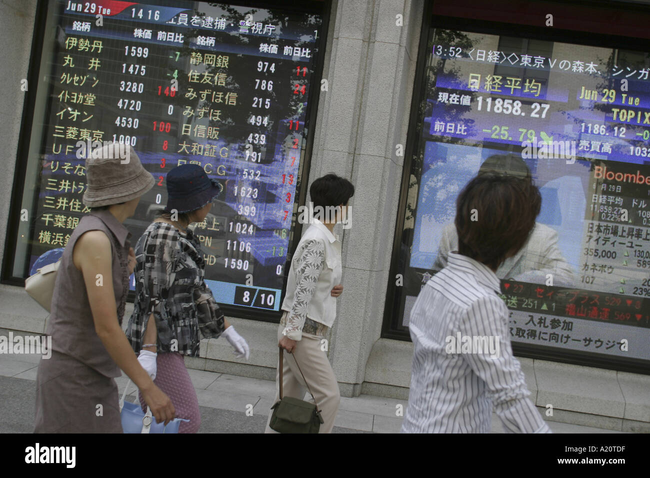 Japanese women walk past a bank stocks and shares monitor screen showing the latest values of commodities, Tokyo, Japan - Stock Image
