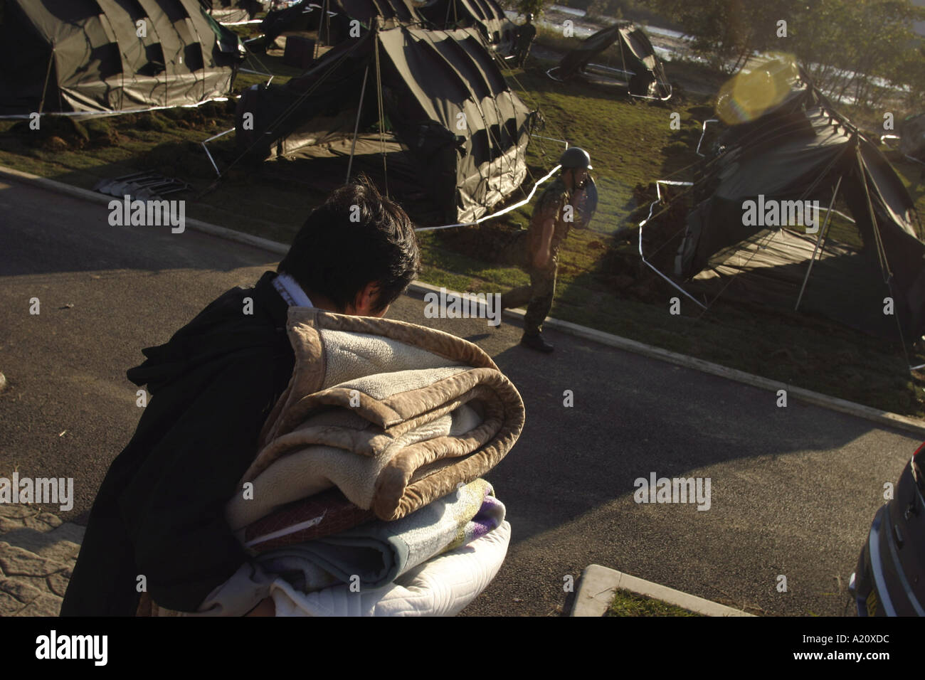 Aftermath of powerful earthquakes in Northern Japan, October 2004 - Stock Image