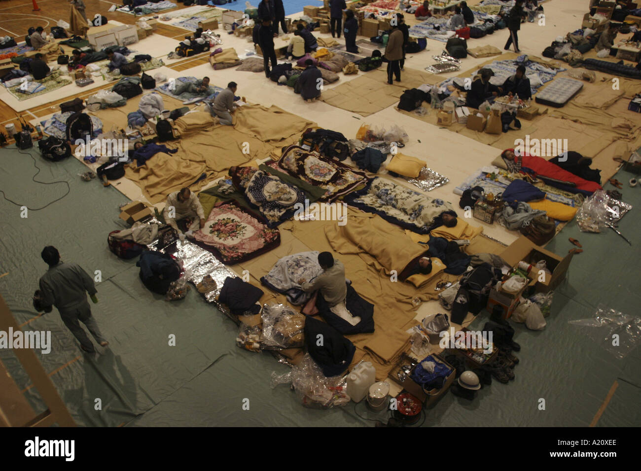 Aftermath of powerful earthquakes which hit Northern Japan, October 2004. - Stock Image