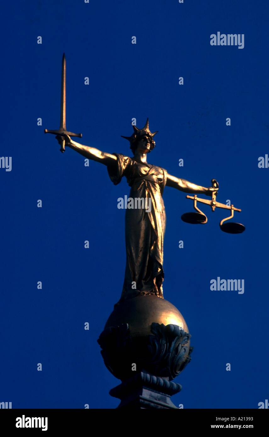 The Scales of Justice Old Bailey Inns of Court London England UK W Rawlings - Stock Image