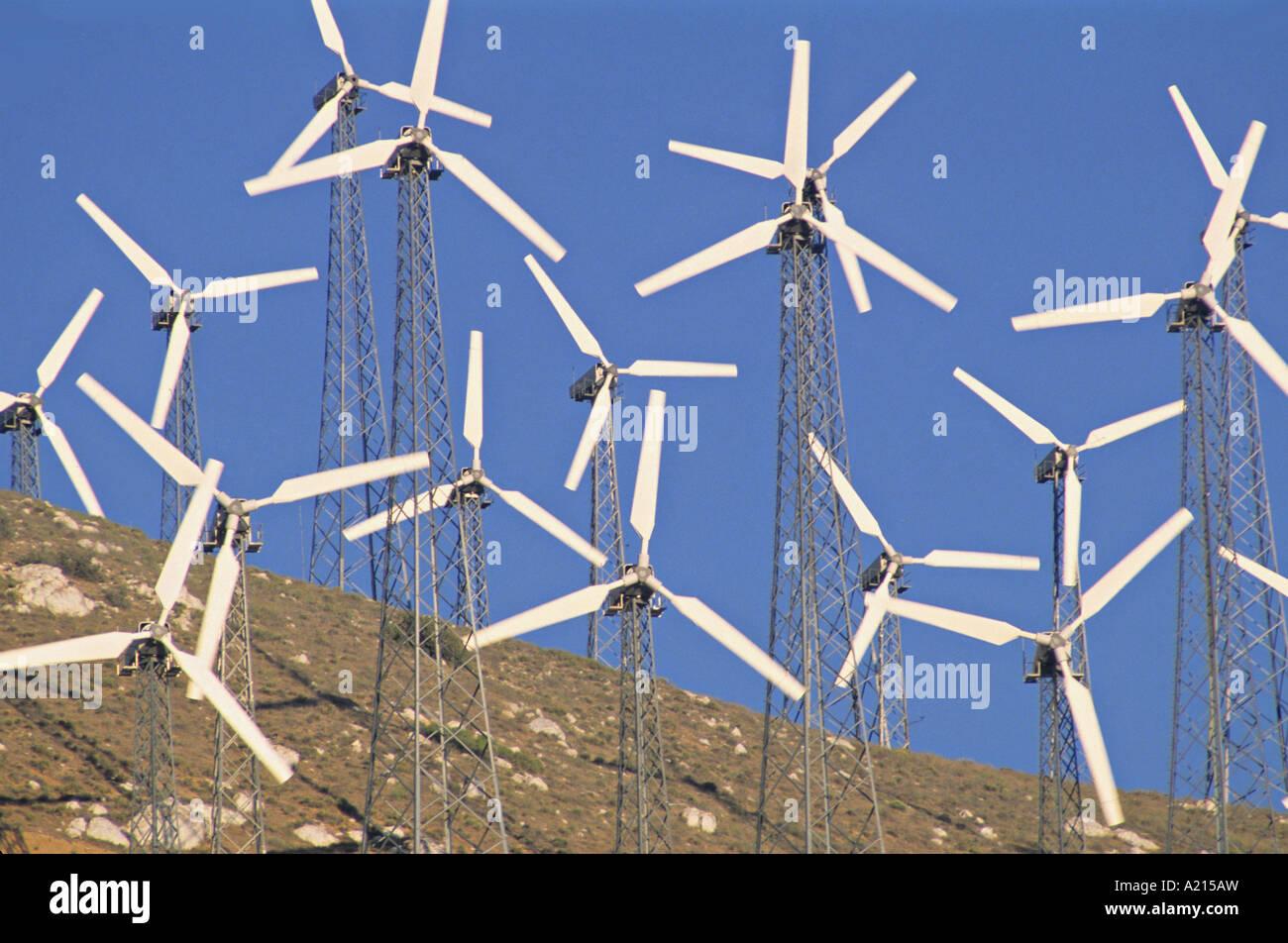 wind turbines Tehachapi California - Stock Image