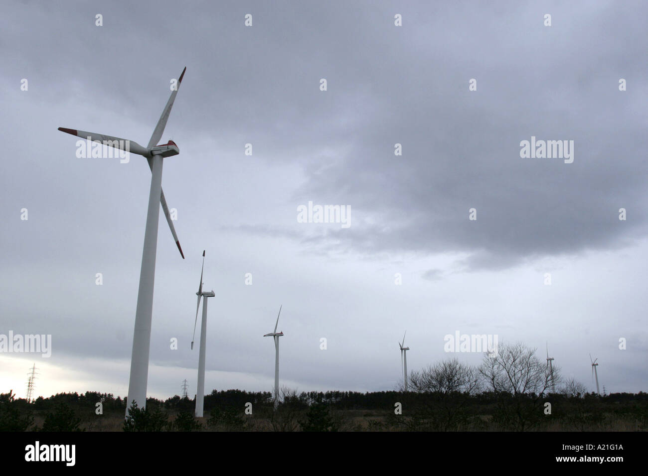 Wind Turbines on a landscape near Rokkosho Northern Japan generating renewable green environmentally friendly energy - Stock Image