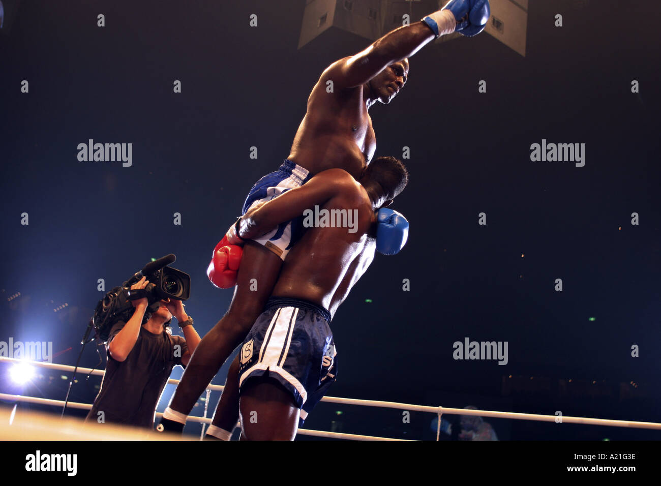 Winners and losers in a K-1 kick boxing fight, Tokyo Dome, Tokyo, Japan. - Stock Image