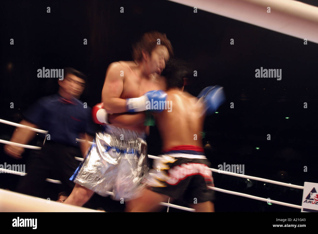 K-1 kick boxing fighters in the heat of a round, K1