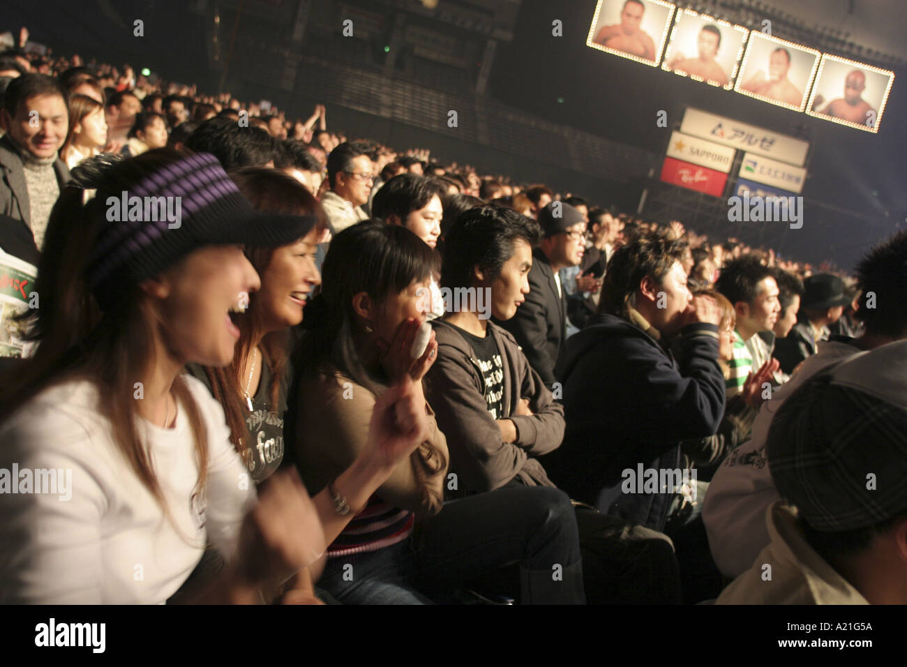 Women and male fans in the audience cheer their favourite fighters at the K 1 World GP 2004 held at Tokyo Dome - Stock Image