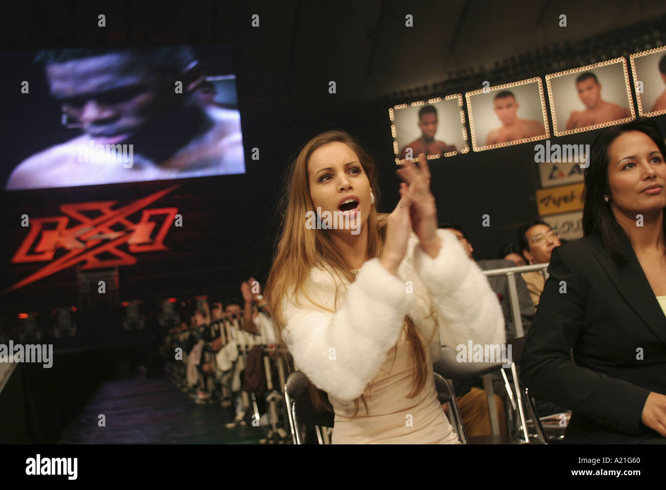 Supporter of fighter at K1 fight , Tokyo, Japan, Asia. - Stock Image