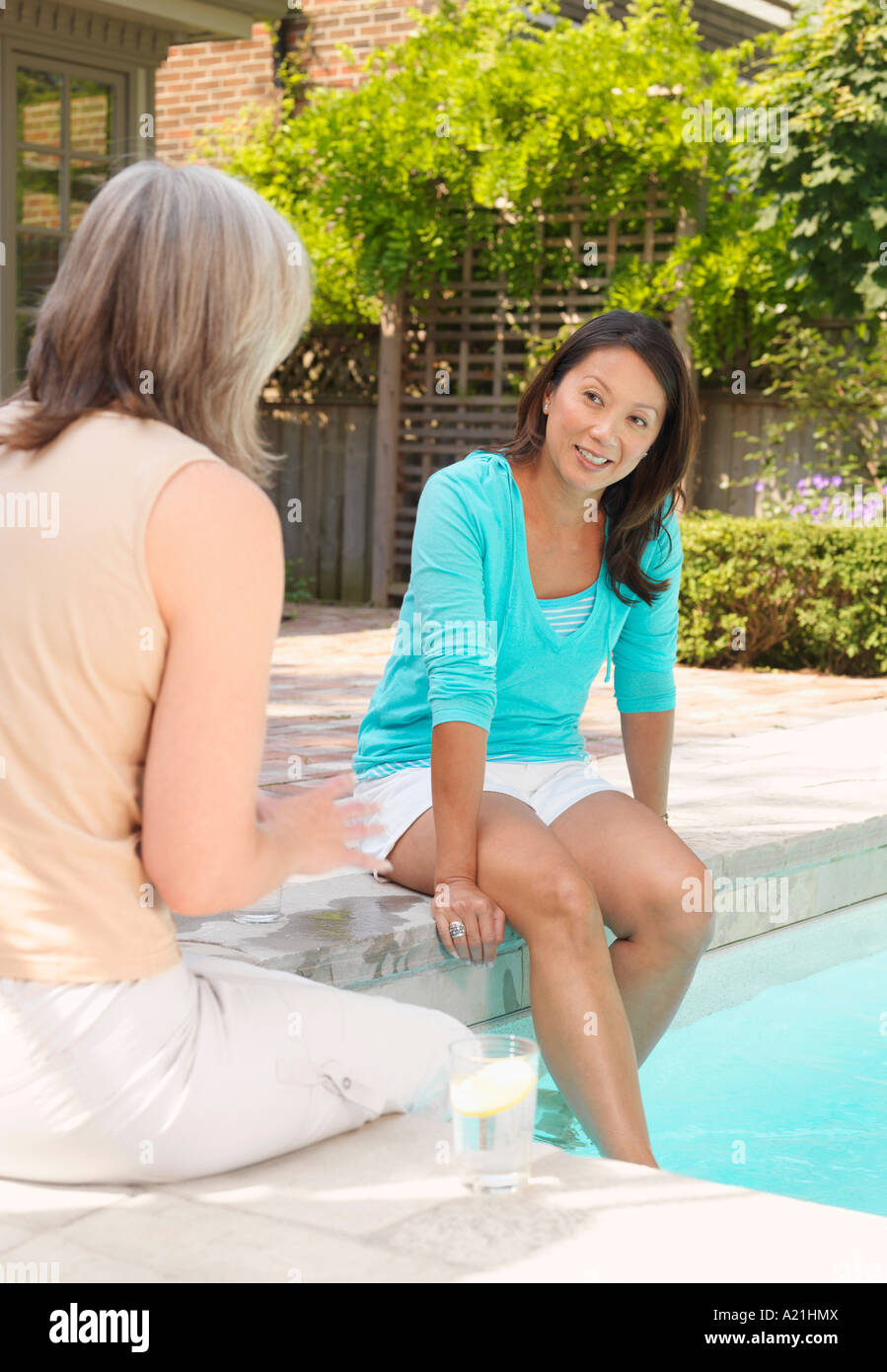 Women Sitting at Side of Pool Stock Photo