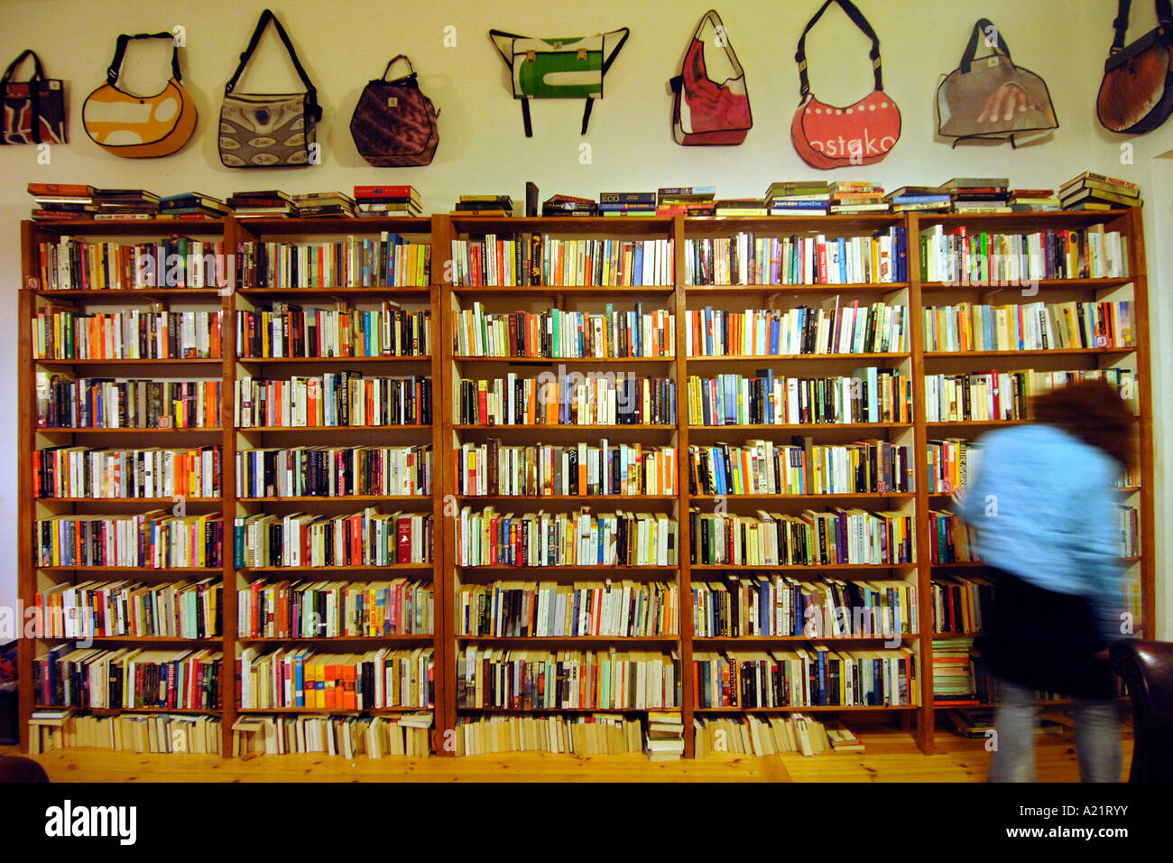 Interior of the St Georges English Bookshop in East Berlin. - Stock Image
