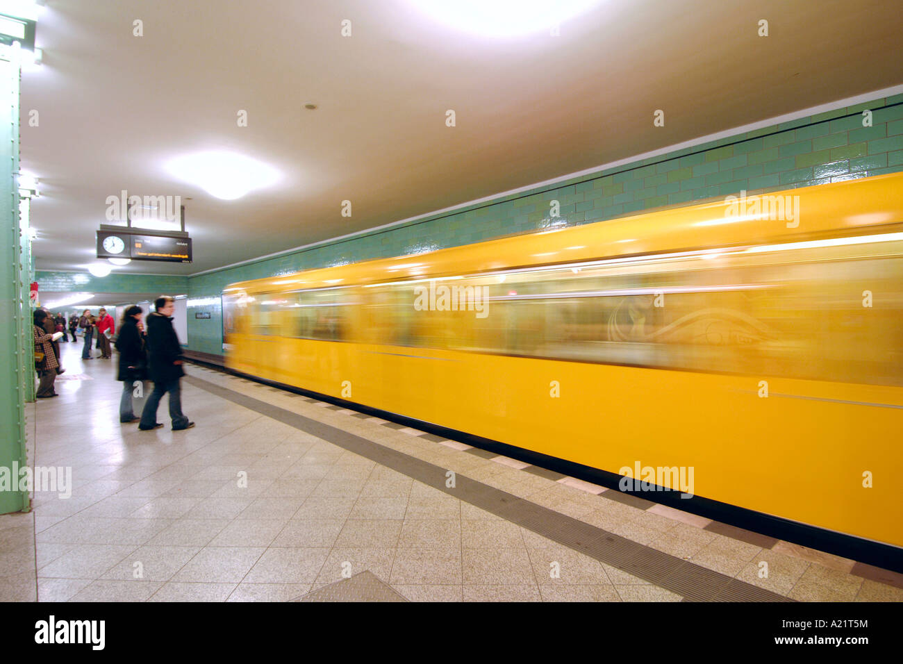 The Alexanderplatz U bahn station platform in East Berlin. - Stock Image