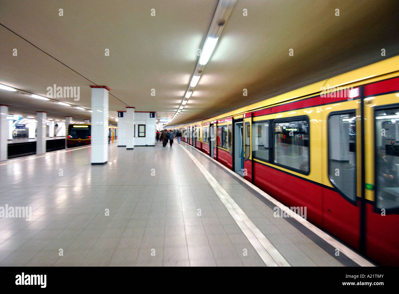 S Bahn train platform at Potsdamer Platz station in East Berlin. - Stock Image