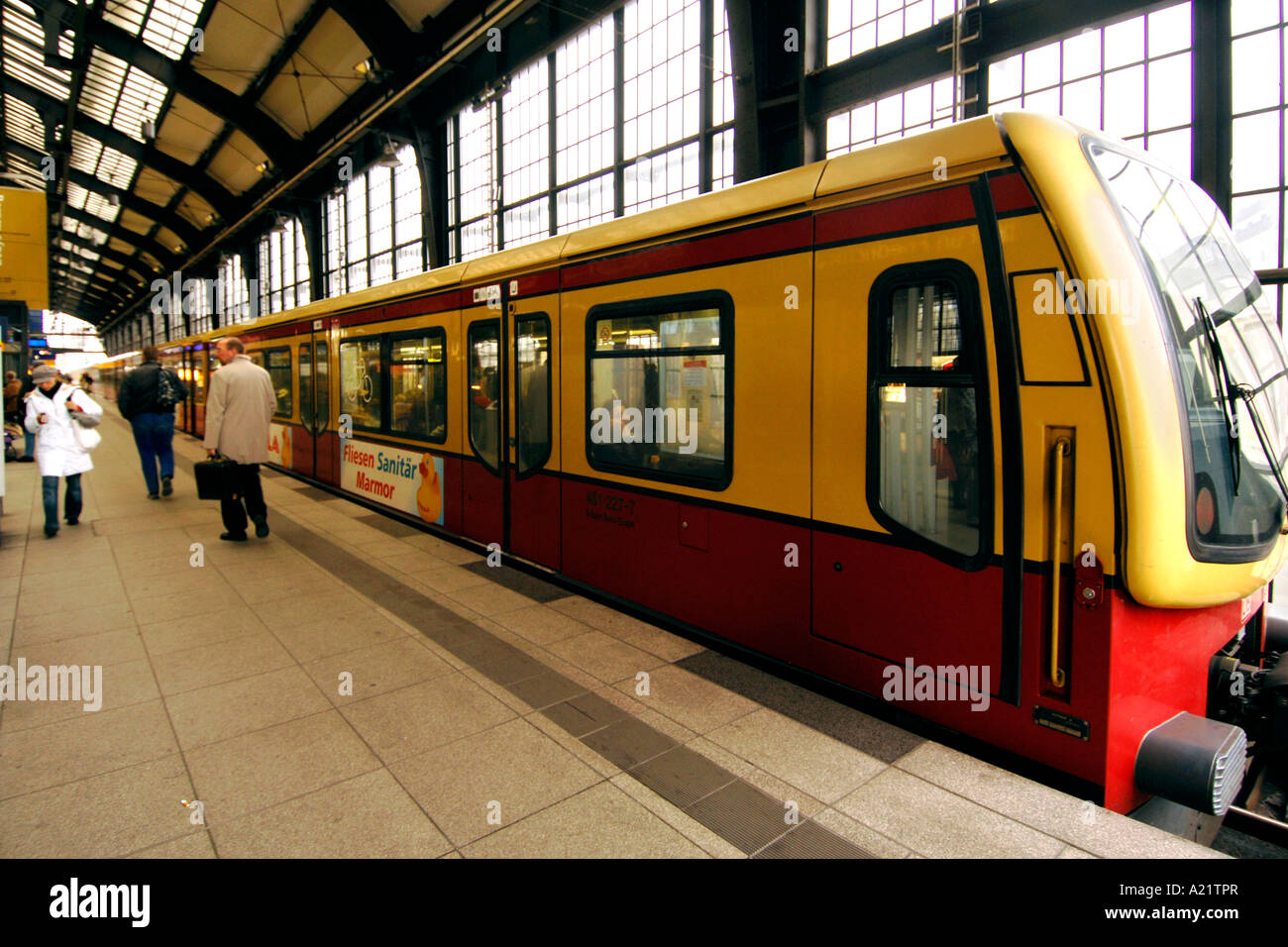 Passengers on the platform of the S Bahn train in East Berlin. Stock Photo