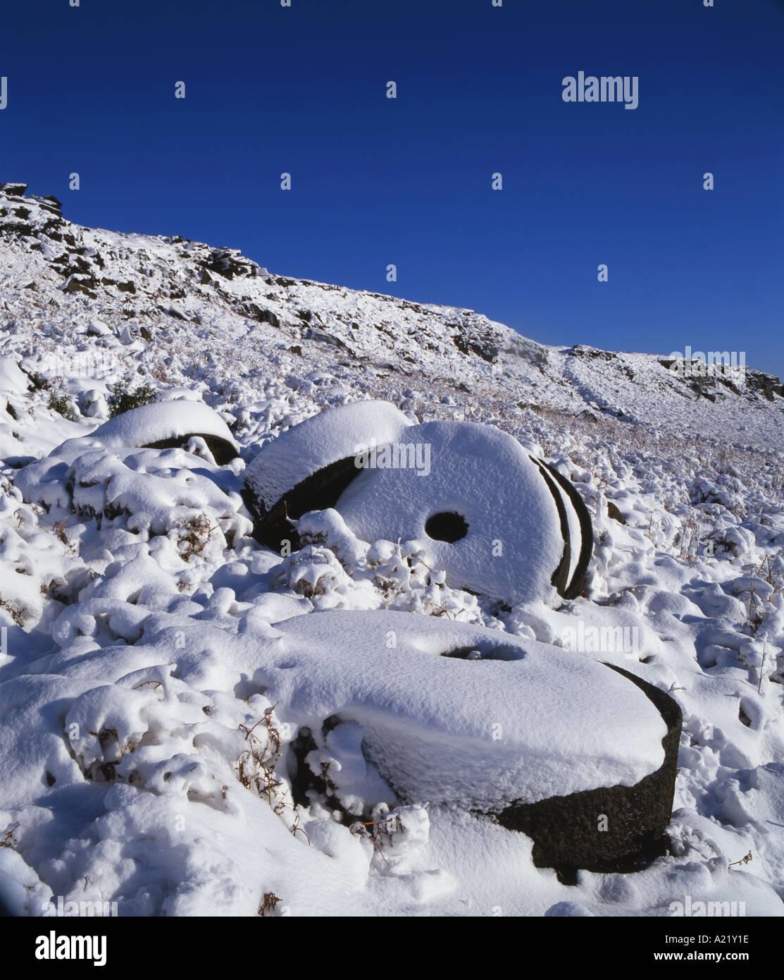 Abandoned Millstones beneath Stanage Edge Peak District National Park Derbyshire Stock Photo