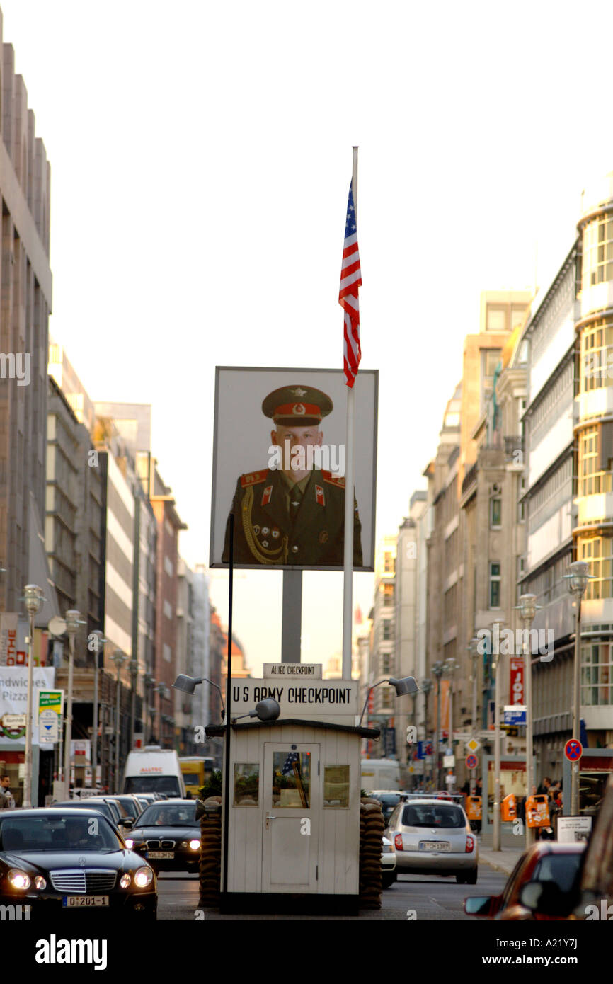 Checkpoint Charlie, the commemorative control point where the border used to be between East and West Berlin in - Stock Image