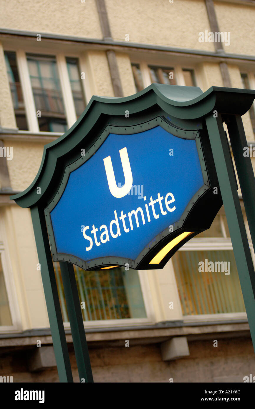 Sign for the Stadtmitte U-bahn station in East Berlin - Stock Image