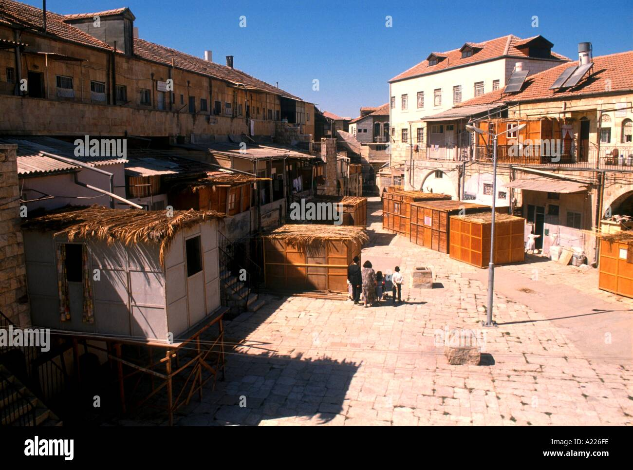Succas in Batei Ungarin tabernacle beside houses in Mea Shearim during the Succoth Festival Jerusalem Israel Middle East A - Stock Image