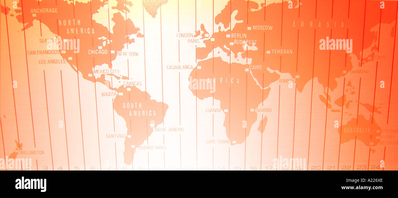 Time Zones America Map Stock Photos & Time Zones America Map ...
