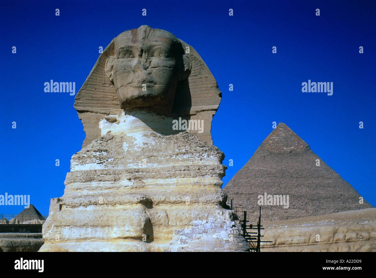 The Sphinx and one of the pyramids at Giza Local Caption Cairo - Stock Image
