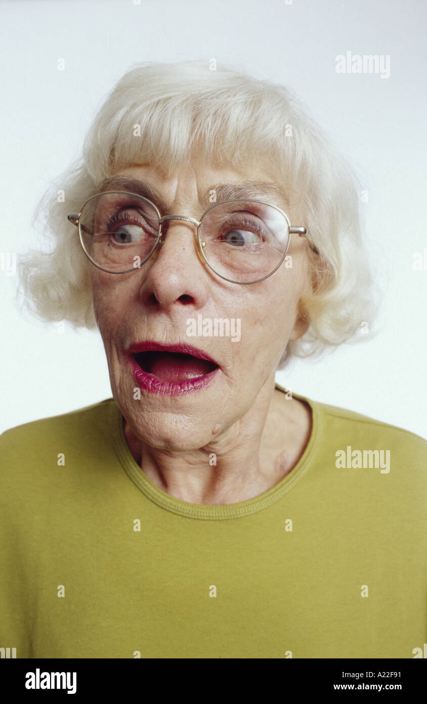 Old Woman Making Goofy Face - Stock Image