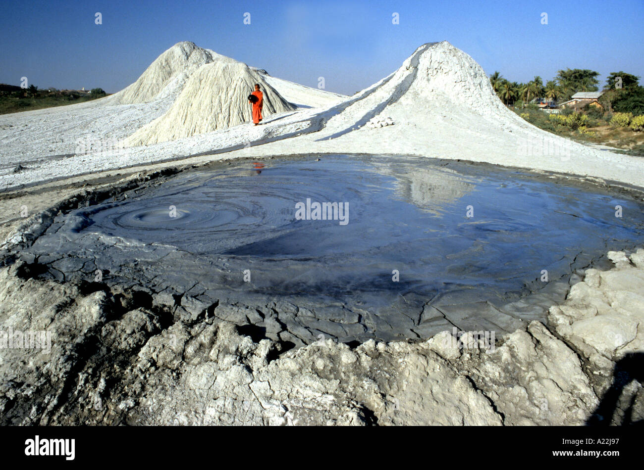 Mud Volcanoes ,geological phenomena, are to be found at Minbu in Myanmar, Burma are not true volcanos but the product of strata - Stock Image