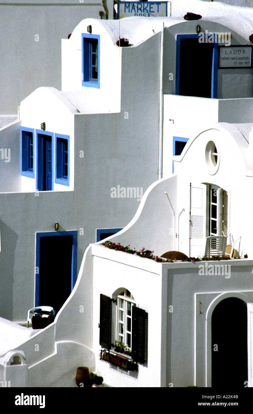 The greek island of Santorini is famous for its blue and white buildings and the fact that it is an ancient volcanic caldera - Stock Image
