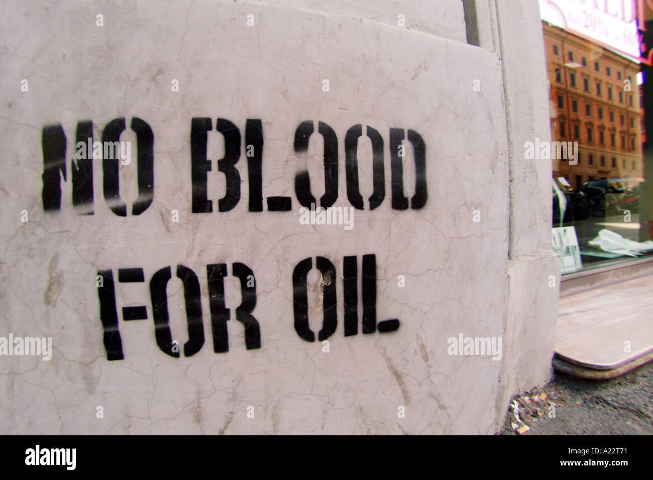 anti war graffiti rome italy Stock Photo