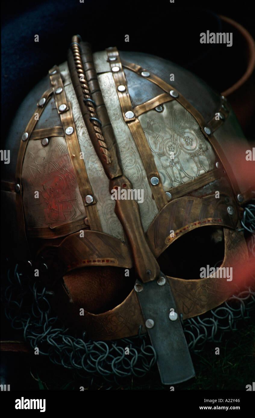 Old Historic Saxon Norman Warriors Helmut - Stock Image