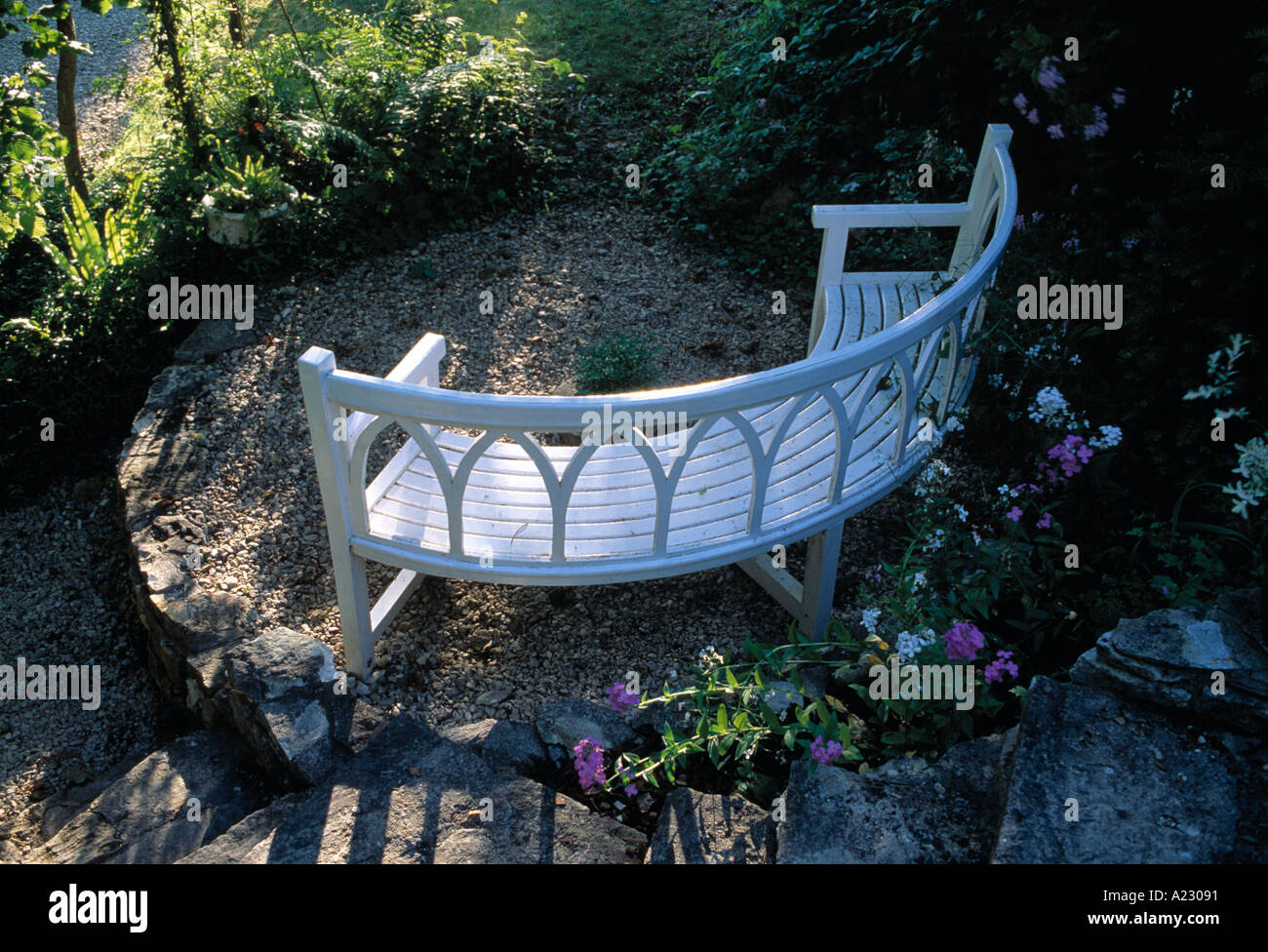 Curved Gothic bench - Stock Image