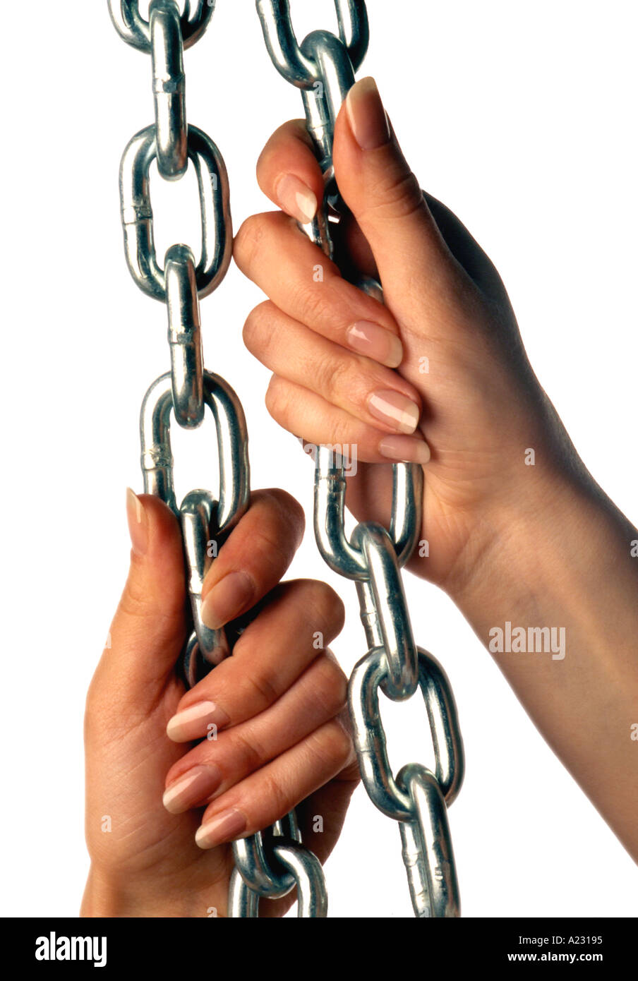 caucasian female hands pulling chain - Stock Image