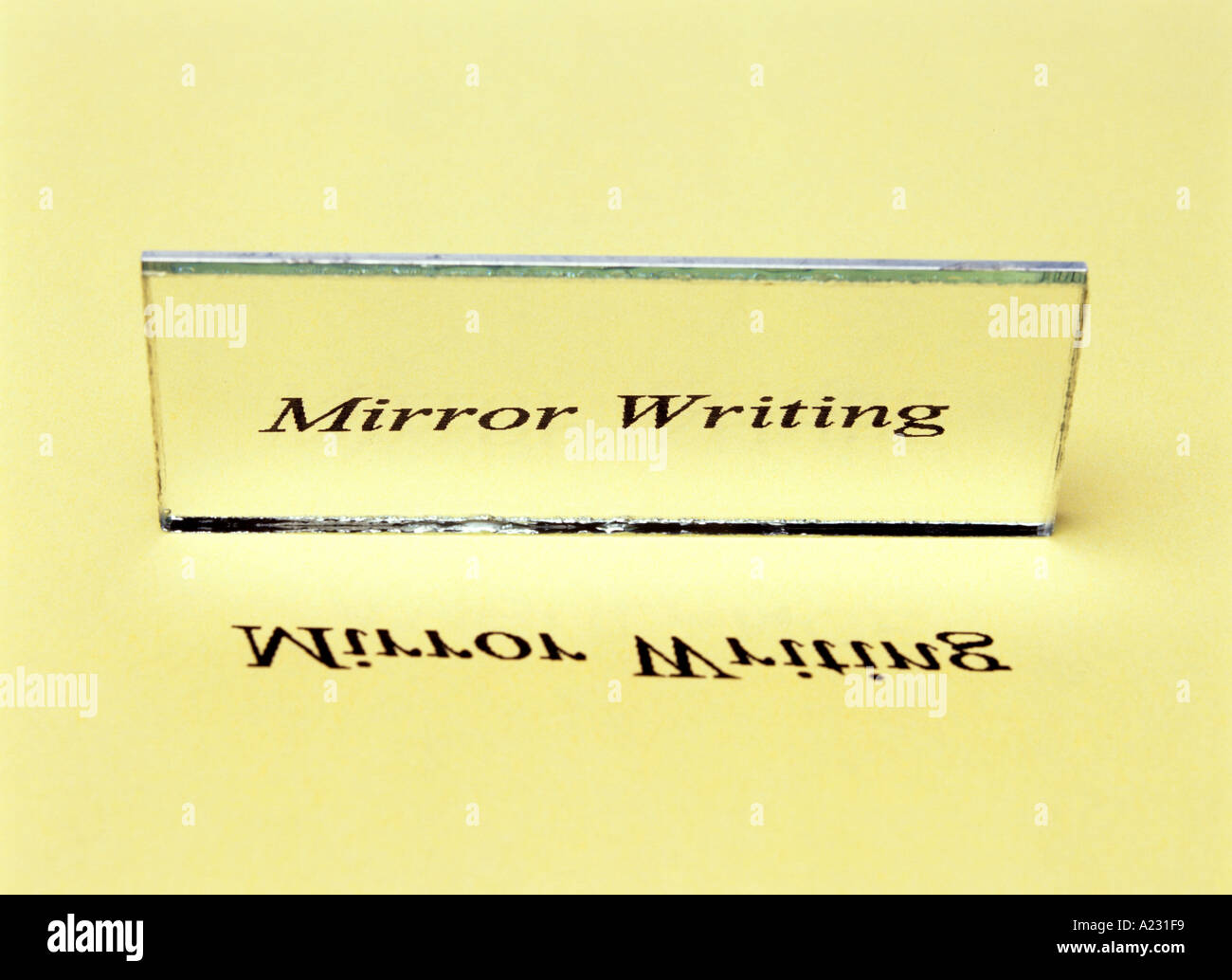 mirror writing or lateral inversion of an image - Stock Image
