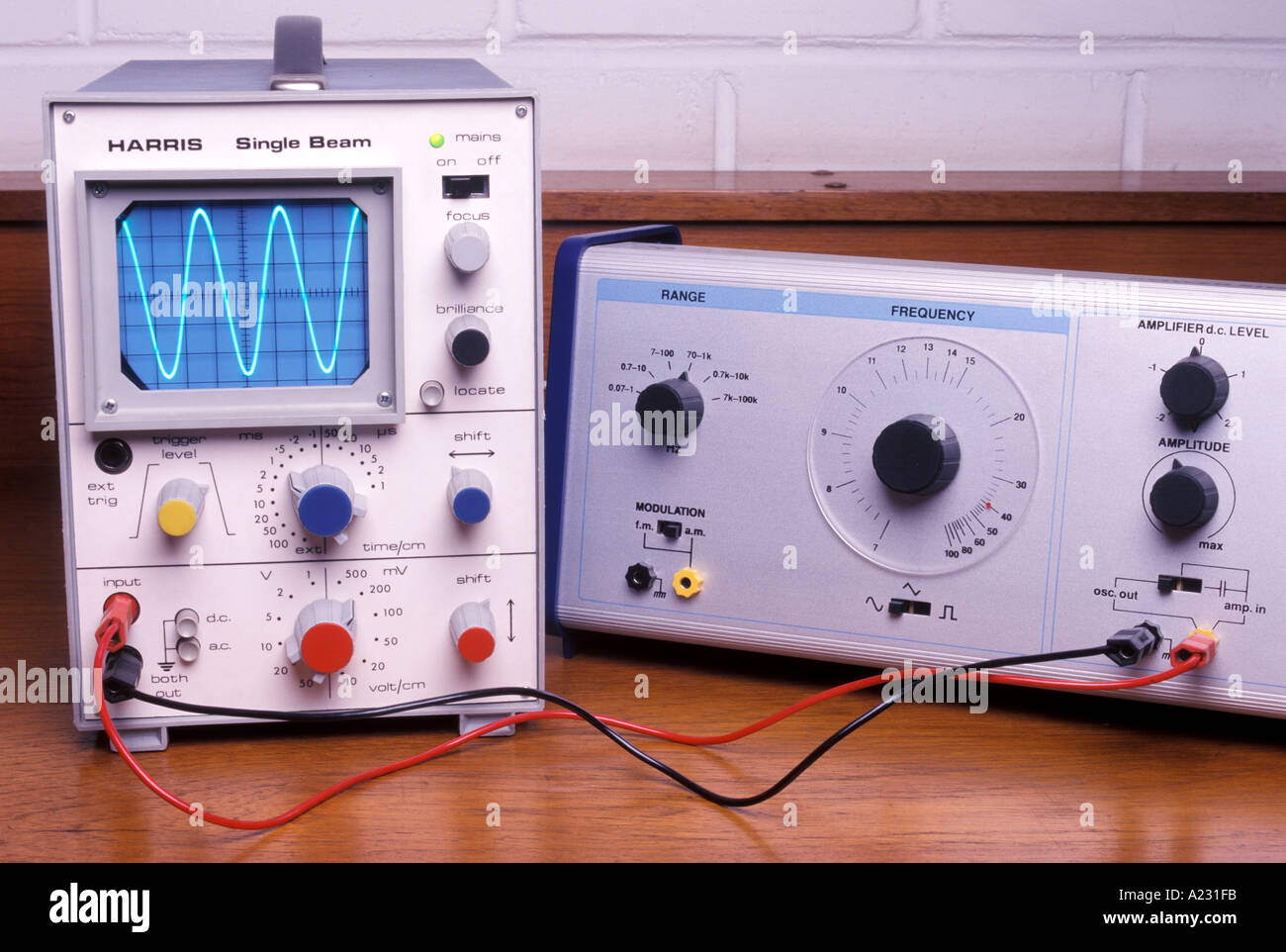 signal generator connected to a cathode ray oscilloscope or CRO
