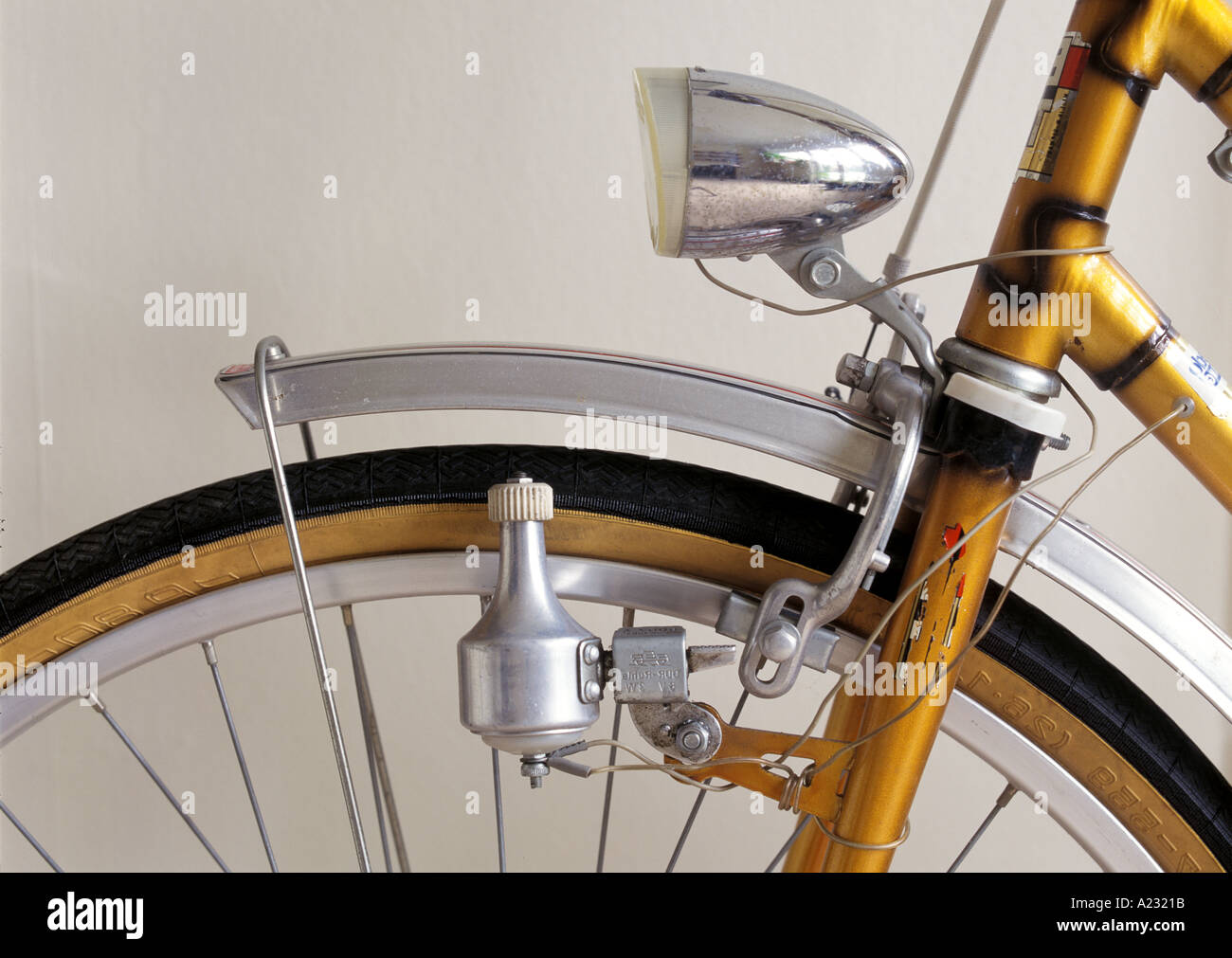 a bicycle dynamo on a bicycle - Stock Image