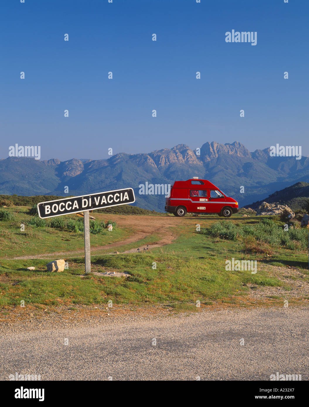 British motorhome parked on the Bocca di Vacca, Corse du Sud, Corsica, France - Stock Image
