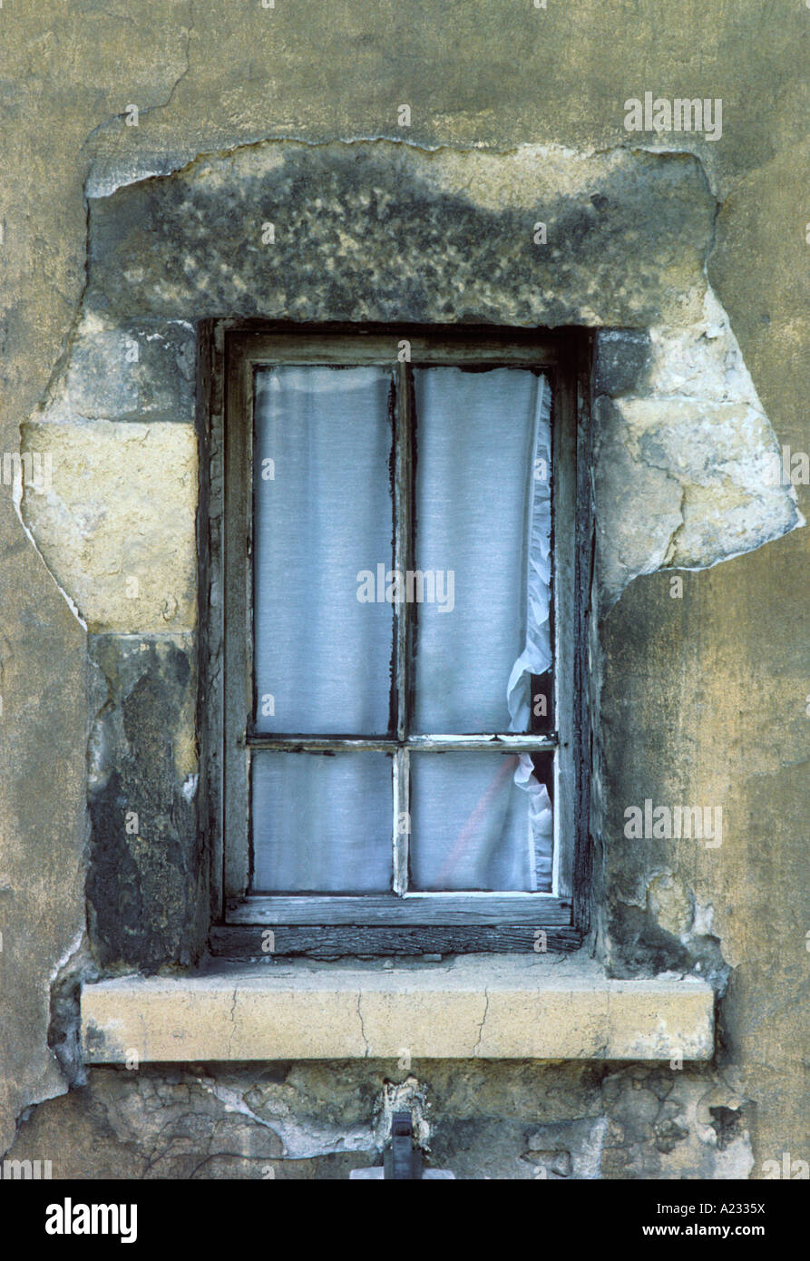 France Paris Old Window in a Stone House Sandra Baker - Stock Image
