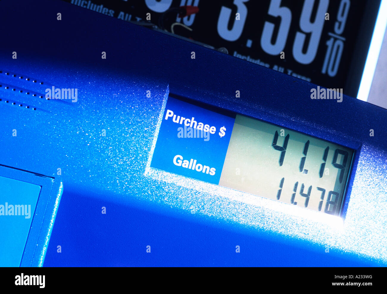 USA Sale of Gasoline Recorded on Pump in Gas Station New York City - Stock Image