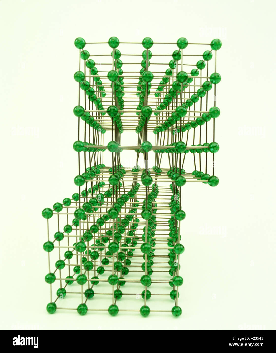 molecular model of a screw dislocation - Stock Image