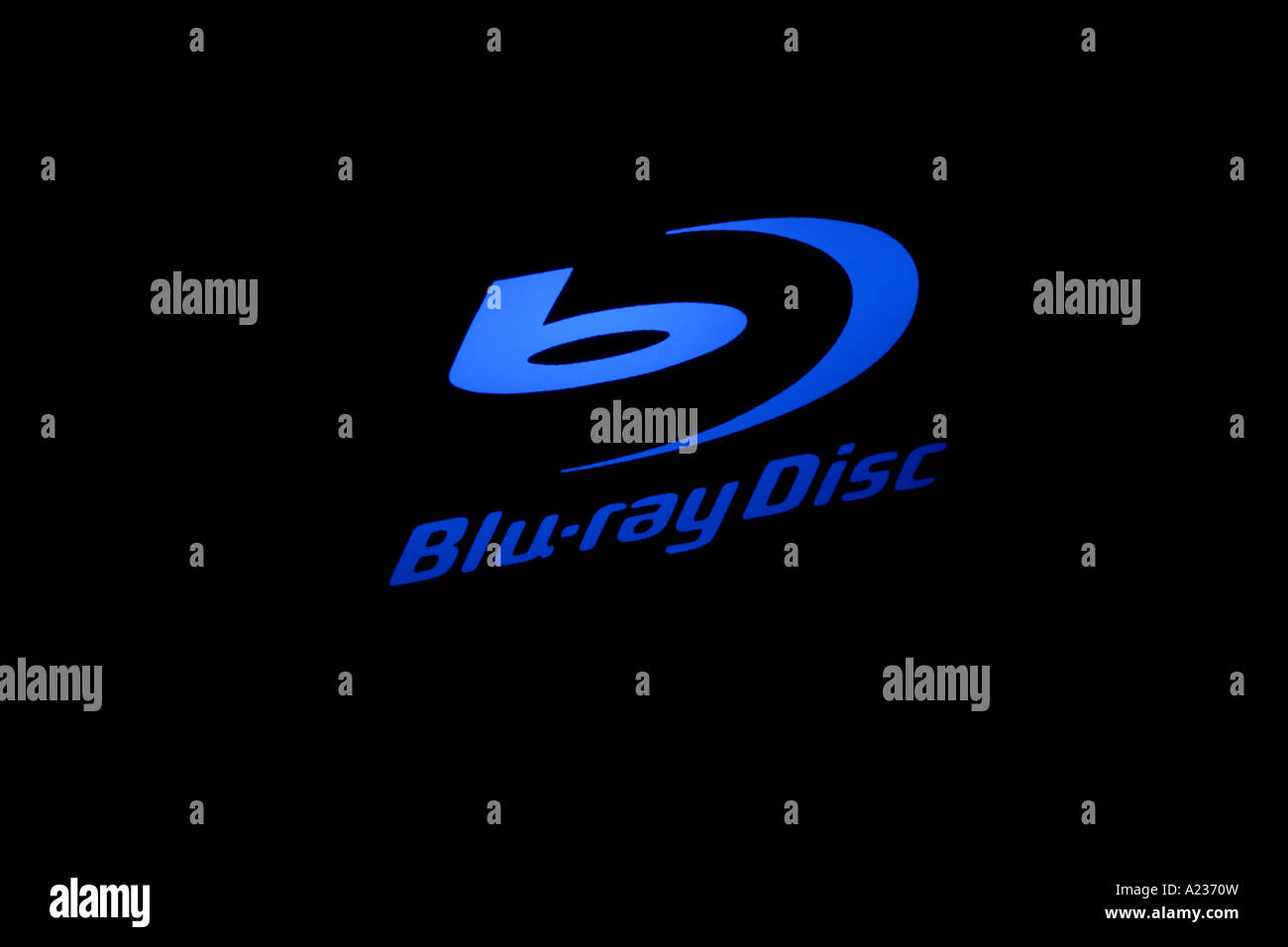 Blu Ray logo in blue Taken from a Blu ray DVD player - Stock Image
