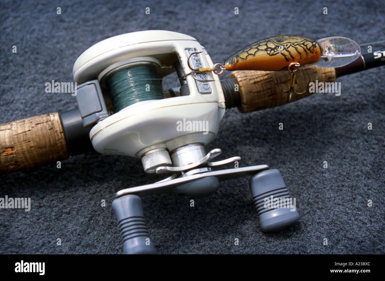 Bass Fishing Rod, Reel & Lure Stock Photo - Alamy