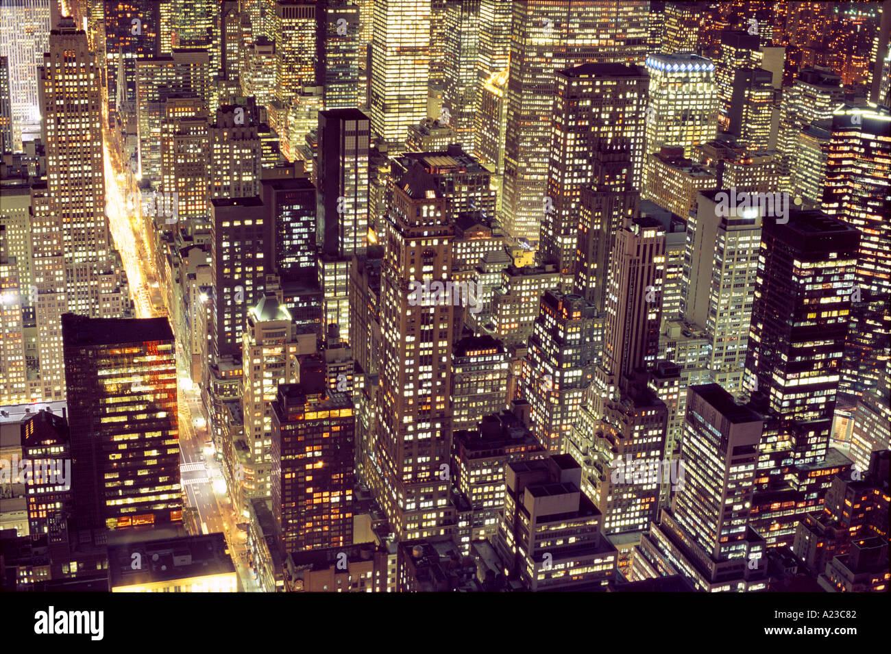 USA New York New York City aerial view of Manhattan at night - Stock Image