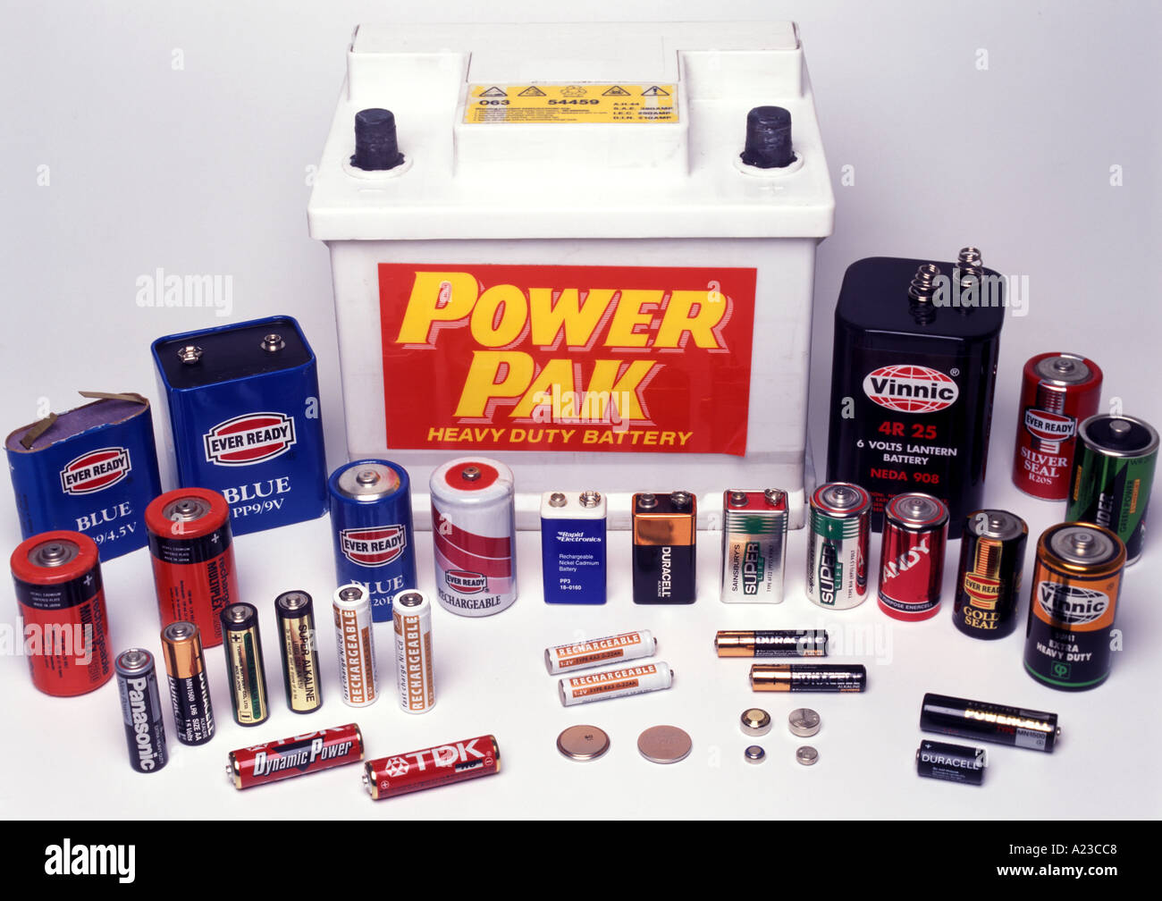 a selection of batteries - Stock Image