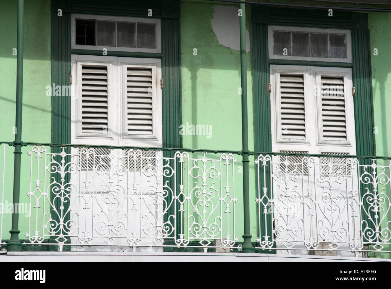 Balcony railing and doors of bright green building Coleridge Street Bridgetown Barbados & Balcony railing and doors of bright green building Coleridge Stock ...