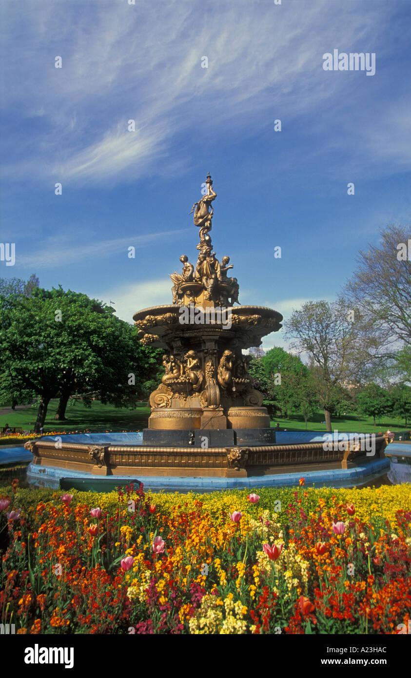 The Ross fountain in Princes street gardens Edinburgh Lothian Scotland UK GB EU Europe eye35.com - Stock Image
