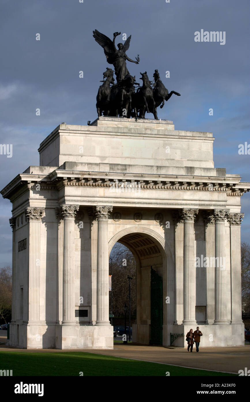 Wellington Arch on Hyde Park Corner in London England - Stock Image