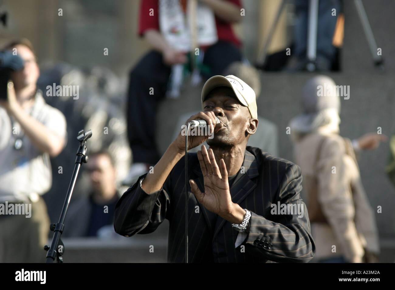The singer Maxi Jazz from the pop group Faithless singing at an Anti war rally demo march in London 2005 Stock Photo