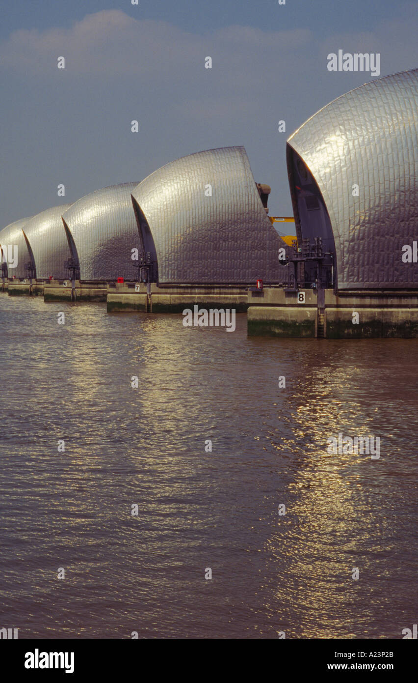 River Thames Flood Barrier London England - Stock Image