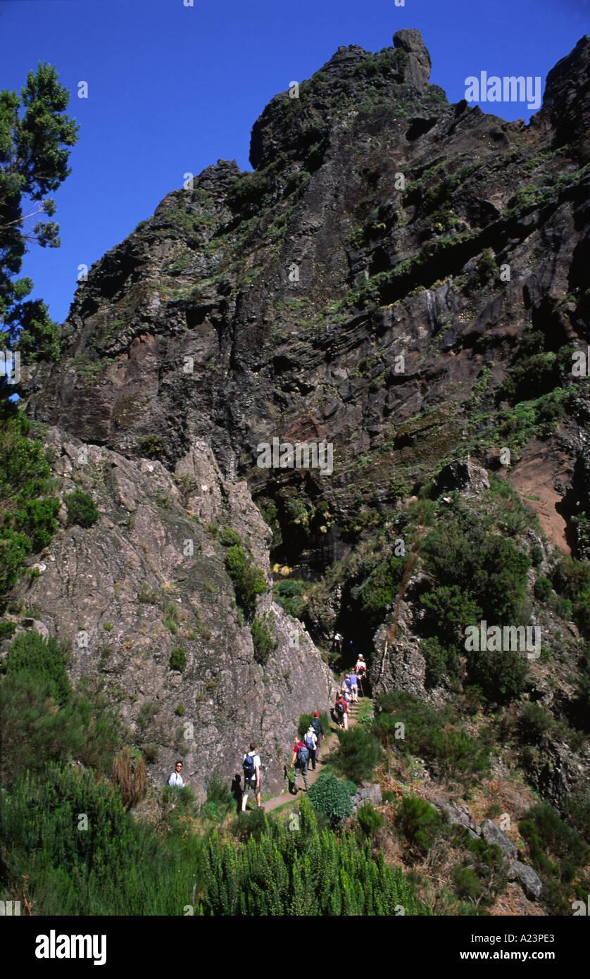 Walk from Pico do Arieiro to Pico Ruivo in central Madeira - Stock Image