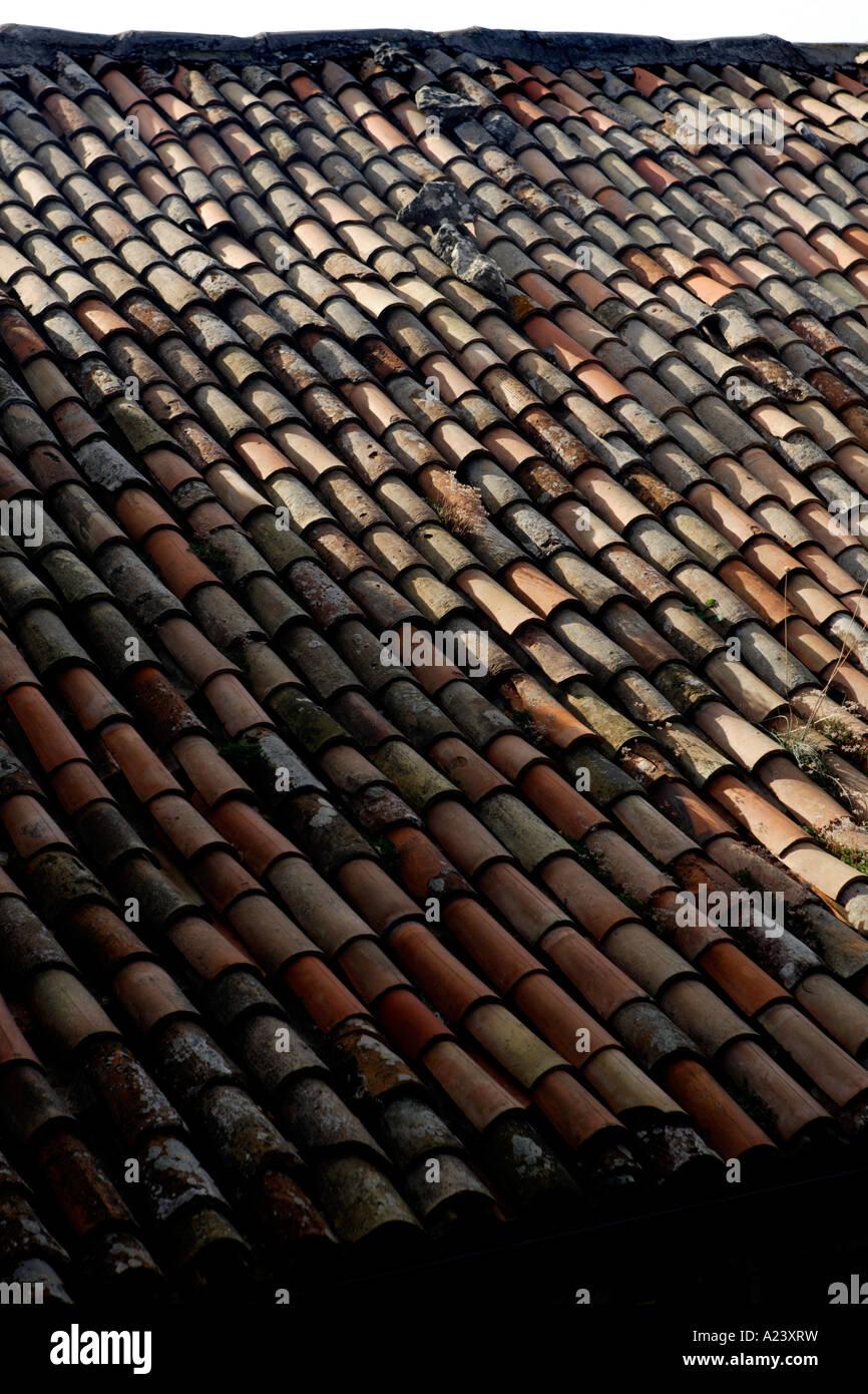 Roof Tiles, San Marino, Emilia-Romagna, Italy. - Stock Image