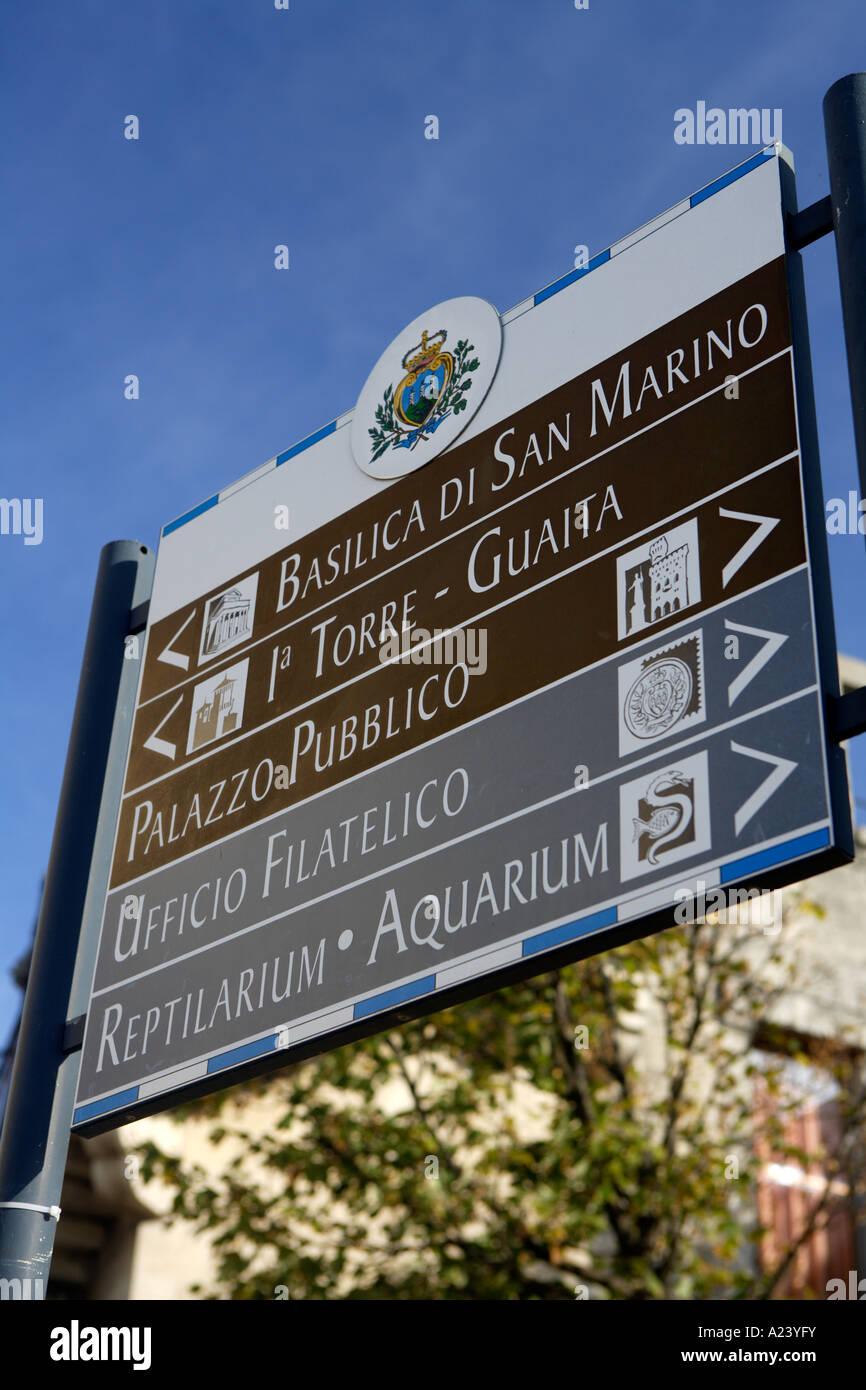 Street Sign, San Marino, Emilia-Romagna, Italy. - Stock Image