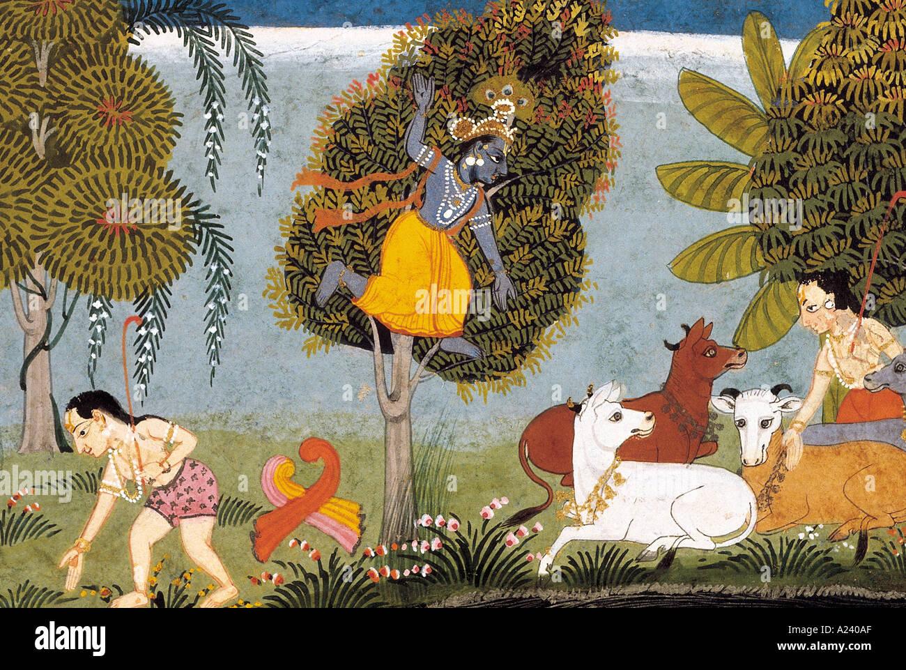 Krishna subdues Kaliya. Scene from the Bhagavata Purana. Mewar, Rajasthan, India. Dated: 1725 A.D. - Stock Image