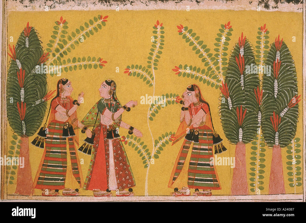 The search for Krishna. Malwa. Dated: 1650 A.D. - Stock Image