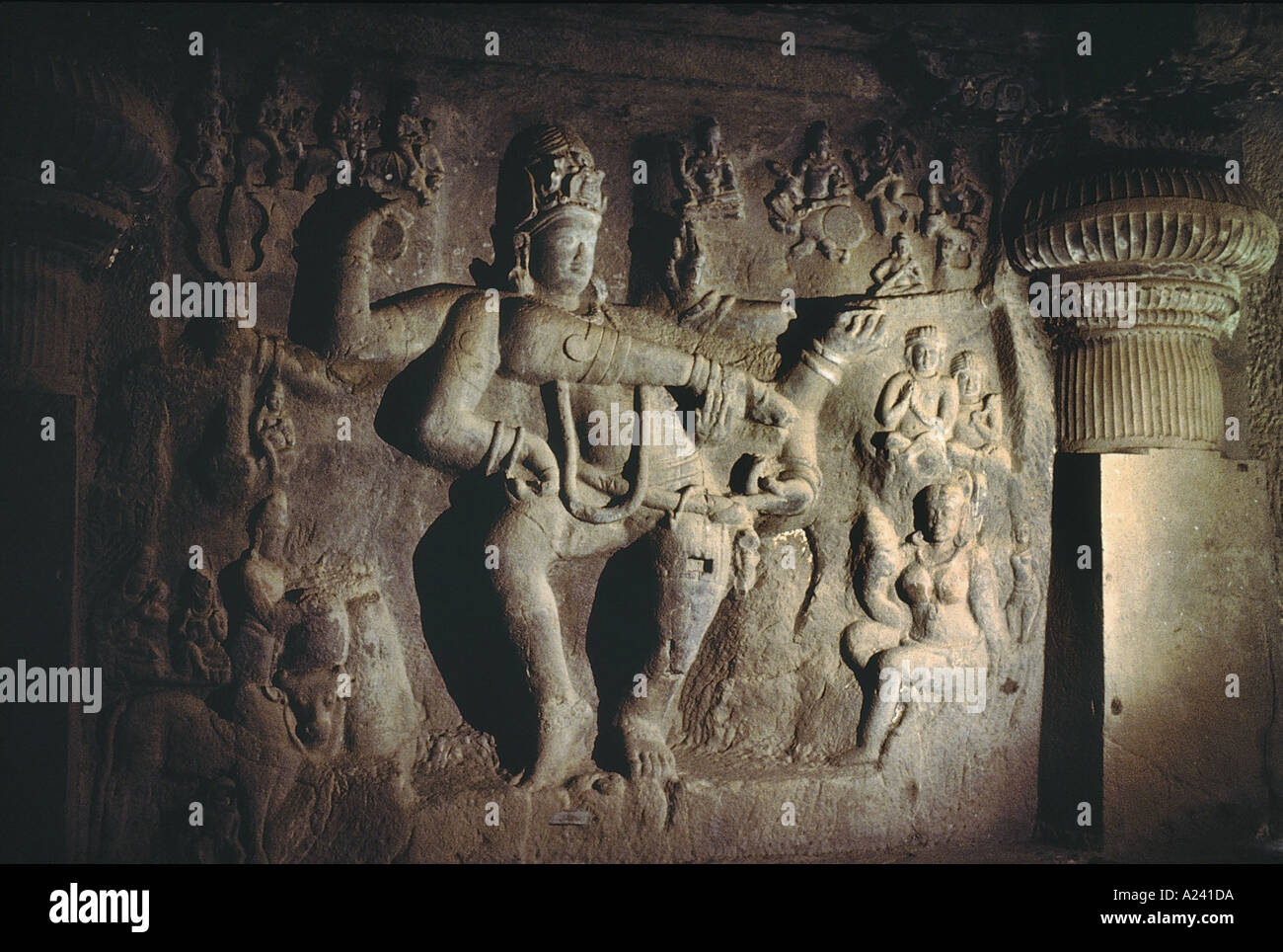 Cave 29 : Dumar Lena.  Panel to the left of the entrance.  Dancing Shiva. Ellora caves Aurangabad, India - Stock Image